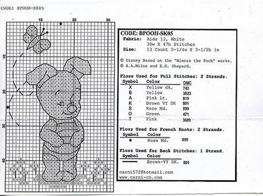 Winnie the Pooh embroidery in cross stitch
