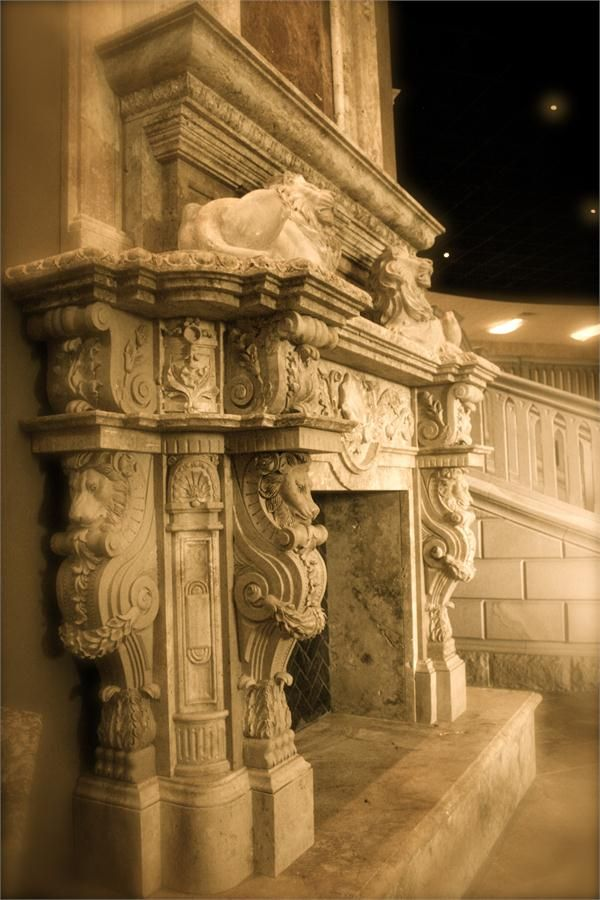 Grand Travertine Fireplace Surround w/ Lion Designs from Carved Stone Creations