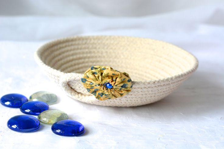Wexford Treasures: Cute Desk Accessory Bowl, Handmade Blue Basket, Modern Clothesline Basket…