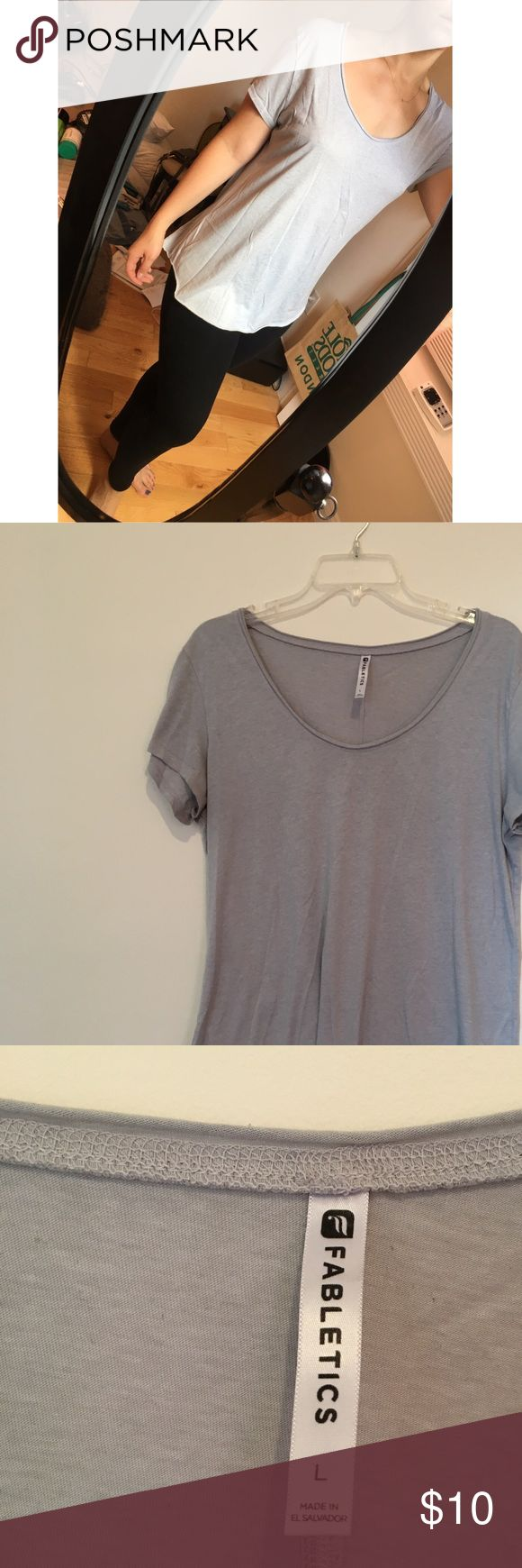 Fabletics comfy top! No top more comfy than this! Sonlight and a great neutral color. Scoop neck super flattering! Says large but med and small could wear as a comfy top. (I'm a med) Fabletics Tops Tees - Short Sleeve