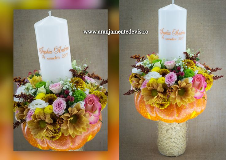 Lumanare botez fetita cu flori de toamna. www.aranjamentedevis.ro aranjamentedevis@yahoo.ro