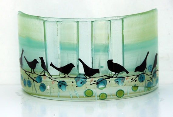 Fused glass Curved vase dwvided to three vases by virtulyglass, $46.00