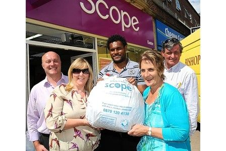 Bishop's Move Exeter delivering donations from our customers to Scope with the help of Sireli Naqelevuki, the Exeter Chiefs and Fijian international rugby star