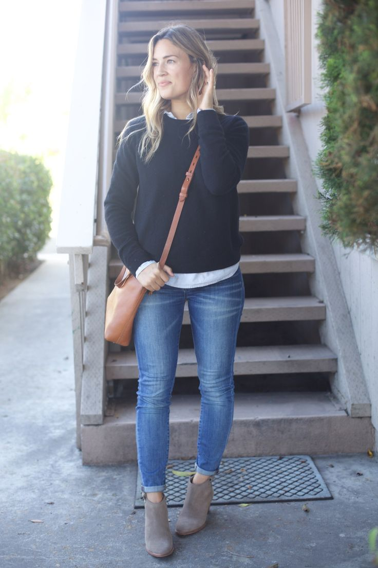 jeans, chambray shirt, black sweater, taupe suede booties