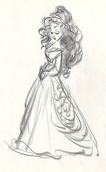 The Little Mermaid Ariel in human form sketch Source: The Little Mermaid