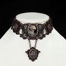 Steampunk Lady cameo choker ketting met tandwielen detail koperkleurig - Gothic Metal