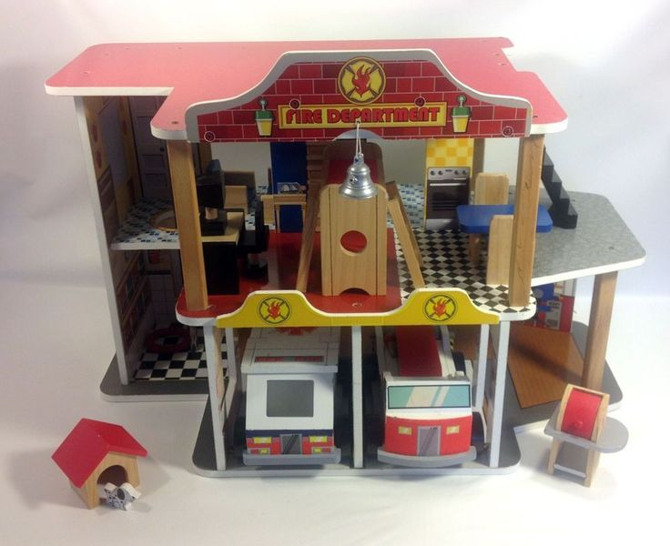 KidKraft Wooden Fire House Station Furniture Wooden Pretend Play Set