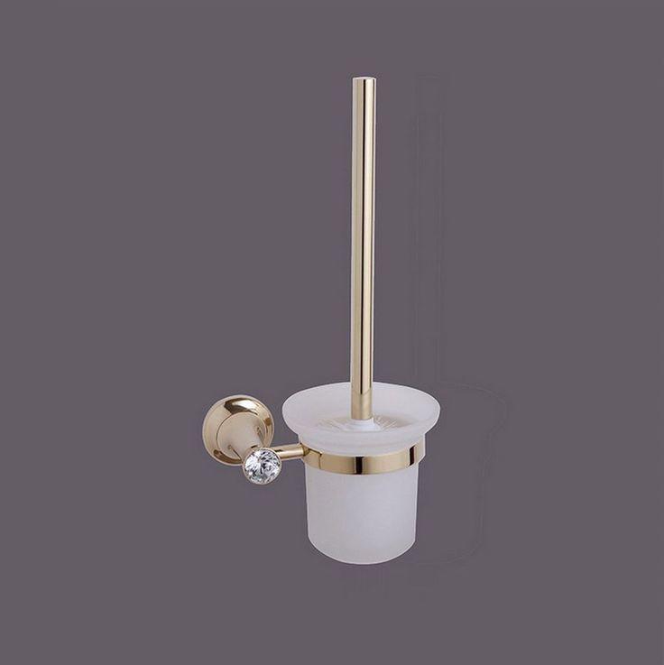 Zinc Alloy Modern Toilet Brush Crystal Holder Glass Cup Wall Mounted Bathroom