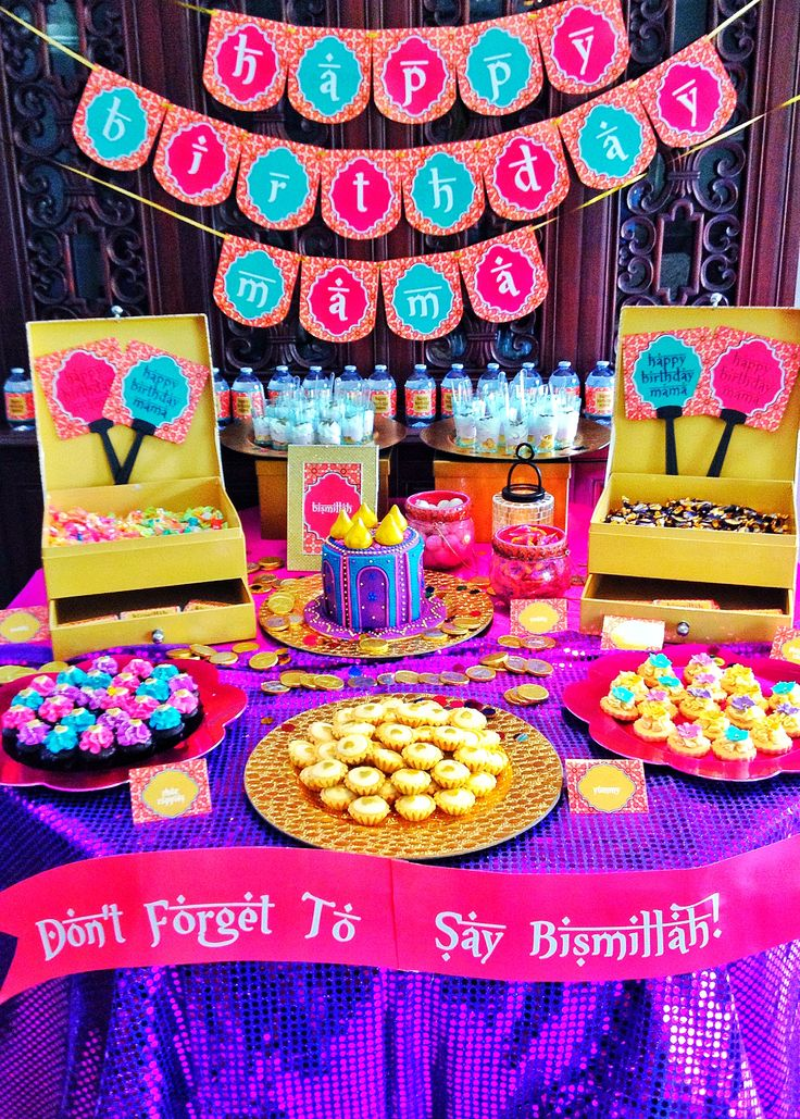 Arabian themed party birthday dessert dessert table for Arabian party decoration ideas