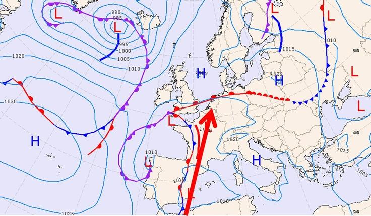 Hoe wordt het (zomerse) fenomeen genoemd dat met de rode pijl wordt aangeduid?