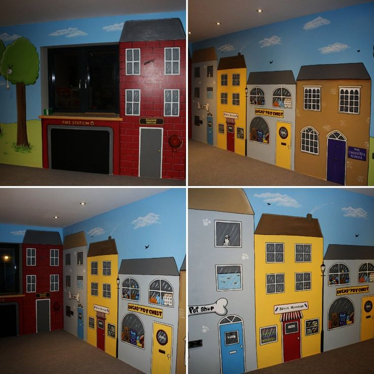 Custom Murals (@CustomMuralsUK) | Twitter Playroom Kidsroom Role Play  Blackboard Street Scene Fire Part 73