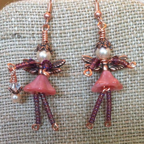 Whimsical Garden FAIRY Faerie Beaded EARRINGS by TwinklingOfAnEye, $28.00