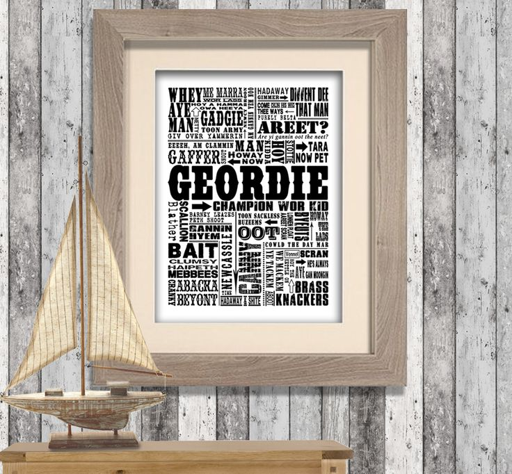 Traditional Geordie Sayings Canvas Print Word Art. Would make a lovely gift for any Geordie Lad or Lass! www.monkeyofthenorth.co.uk