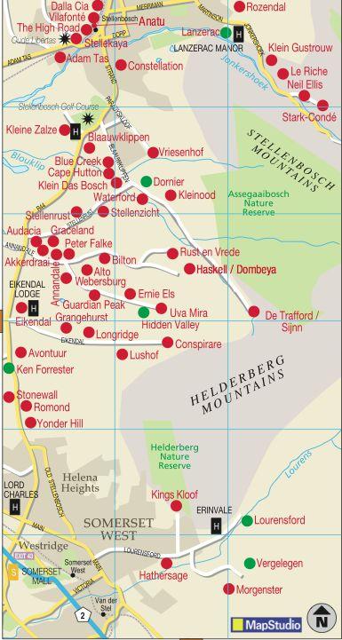 #Stellenbosch wine region map #southafrica #wineroute