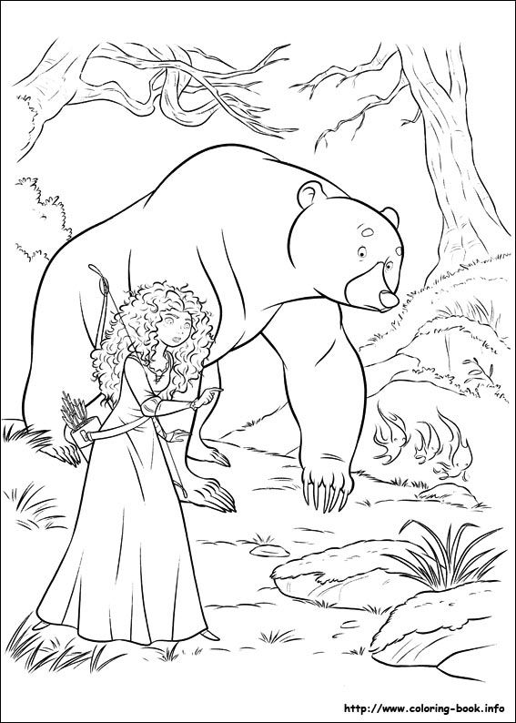 In This Awesome Coloring Sheet From The Brave Movie Tiny Will O Wisps Return And Guide Merida Her Mother Into Forest