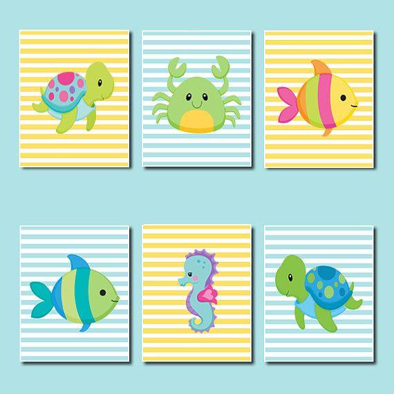 Boy Girl Nursery Sea Animals Bathroom Decor by LovelyFaceDesigns