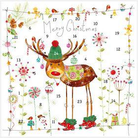 "ADVENT CALENDAR CARD RUDOLPH CODE: XM135  A mini Advent Calendar. With 100 gsm envelope. Message inside reads: Merry Christmas Paper Type: Matt Textured Artist: Lorraine Duff Size: 6 x 6"" : 152 x 152mm. www.lmfcards.co.uk"