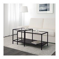 VITTSJÖ Bijzettafel, set van 2, zwartbruin, glas - 90x50 cm - zwartbruin/glas - IKEA