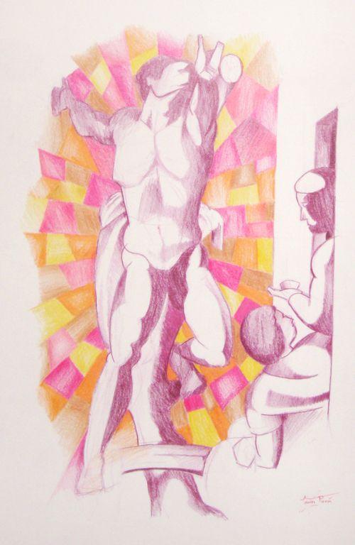 """""""Capilla Sixtina"""" Crayon on paper (Javier Pavón, 2006)"""
