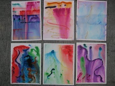 I really like this for a water themed preschool unit.  thin lines of watercolor on slanted paper then spray with water and let them drip down.