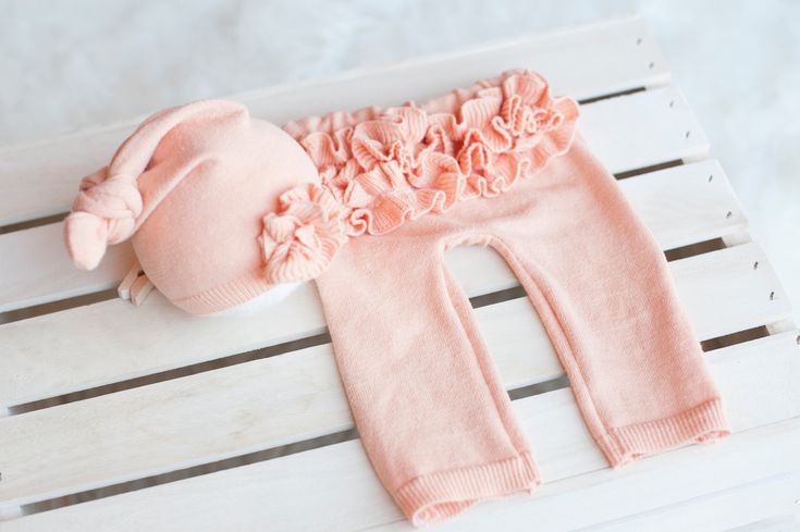 Pre- Order Upcycled Newborn Hat and Ruffle Bottom Pants, Newborn Prop,. $50.00, via Etsy.
