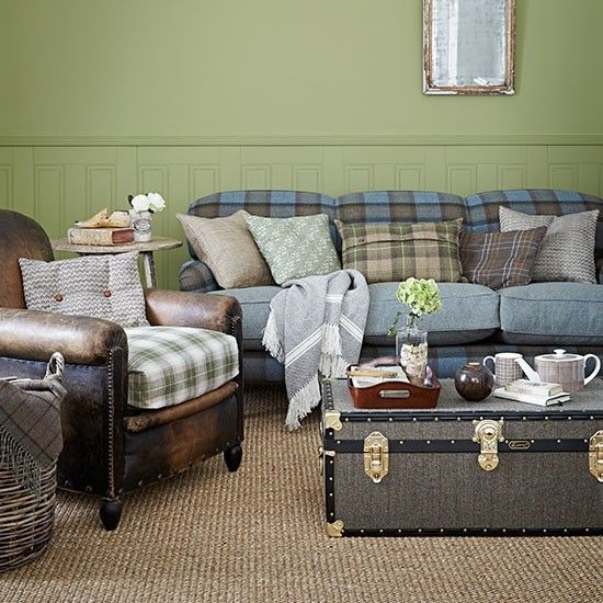 Green and blue check country living room | Living room decorating