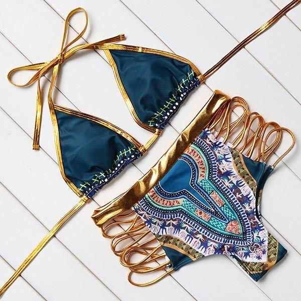 Newest 2017 Hot Sexy Bandage Bikinis Women Set High Waist Swimwear Women Swimsuit Push Up Printed Bathing Suit Brazilian Bikini