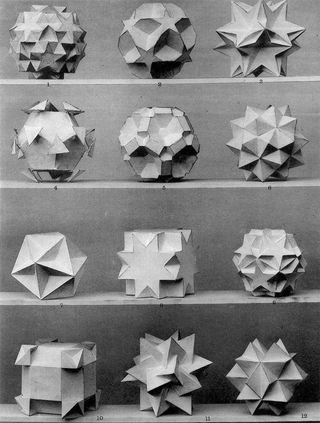 Max Brückner, from his book Vielecke und Vielfläche, 1900. Leipzig, Germany. Via Bulatov. Brückner extended the stellation theory beyond regular forms, and identified ten stellations of the...
