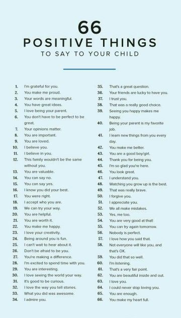66 Positive Things to say to your child (pic only)