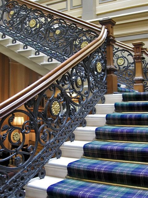 Beautiful staircase at The Royal Highland Hotel Inverness, Scotland #tartanstaircase #ironstairs