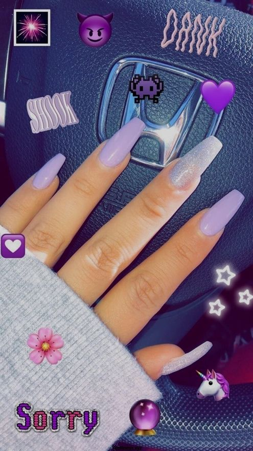 Long coffin acrylic nails lavender and silver #Coffinnails #AcrylicNailsCoffin