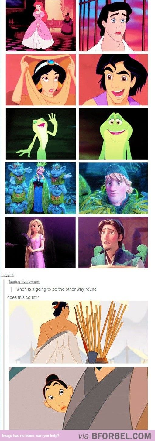 Disney, The Litttle Mermaid, Ariel, Prince Eric, Princess Jasmine, Aladdin, The Princess and the Frog, Tiana, Prince Naveen, Frozen, Anna, Kristoff, Rapunzel, Eugene Fitzherbert, Shang, Mulan