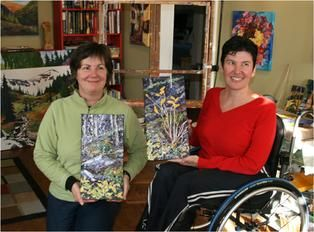 """Mieke Wernham & I with her diptych paintings called """"Unexpected Girfts"""". www.capriceartstudio.com"""