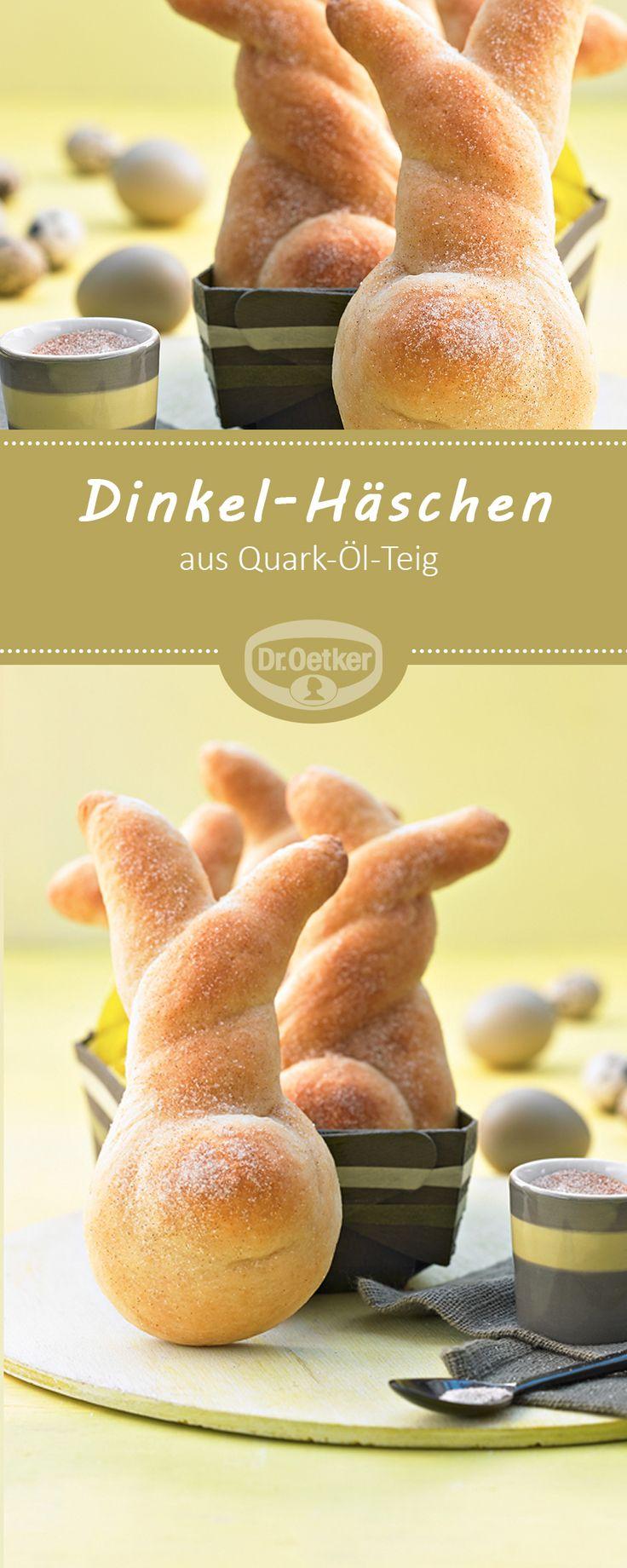 Dinkel-Häschen - Quark-Öl-Teig Häschen mit Zimt-Zucker #ostern #rezept #lecker