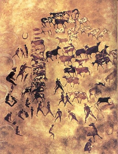 "Feeding a herd of cattle. ""This type of economy,  so richly depicted in the Tassili-n-Ajjer cave paintings, predominated in the Maghrib until the classical period."""