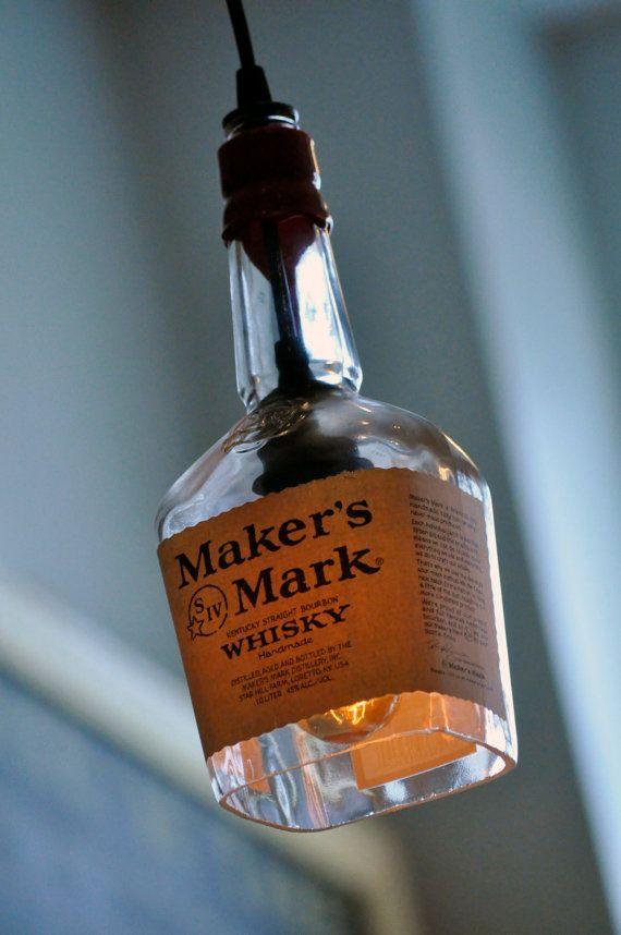 Recycled Maker's Mark Whiskey Bottle Pendant Lamp with vintage Lightbulb on Etsy, $119.00