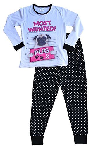 From 12.95 Girl's Long Pyjamas Most Wanted Pug Pj 9 To 16 Years (13-14 Years)