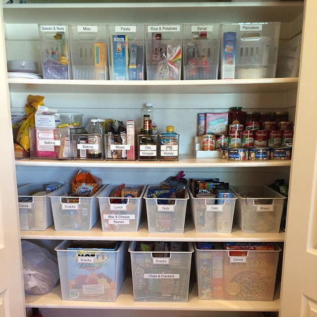 pantry organizing! First tip: Declutter and then categorize your food how it makes the most sense to your household. Group them together. #organize #pantry