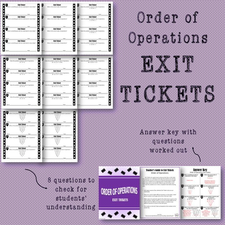Order of Operations Exit Tickets in 2020 Order of