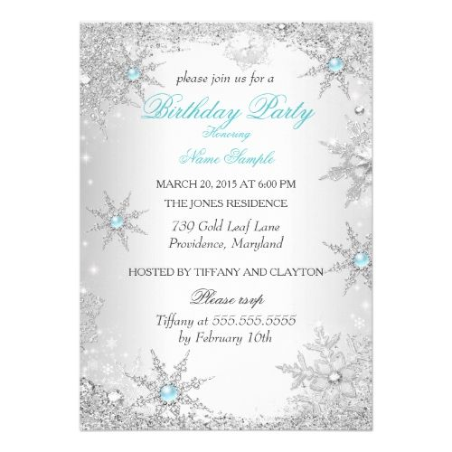 Teal Winter Wonderland Birthday Party Invitation | Zazzle.com
