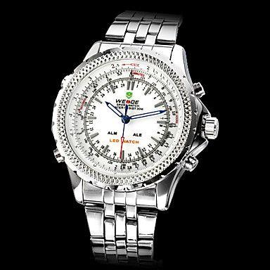 Men's Luxury Style Steel Digital-Analog Multi-movement LED-Quartz Wrist Watch (2 Time Zone, Assorted Colors) – EUR € 34.03