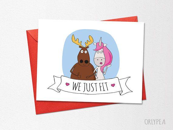 Funny Wedding Card, Funny Love Card, Anniversary Card, We Just Fit, Printable Card, Unicorn, Moose, Boyfriend Card, Husband Card