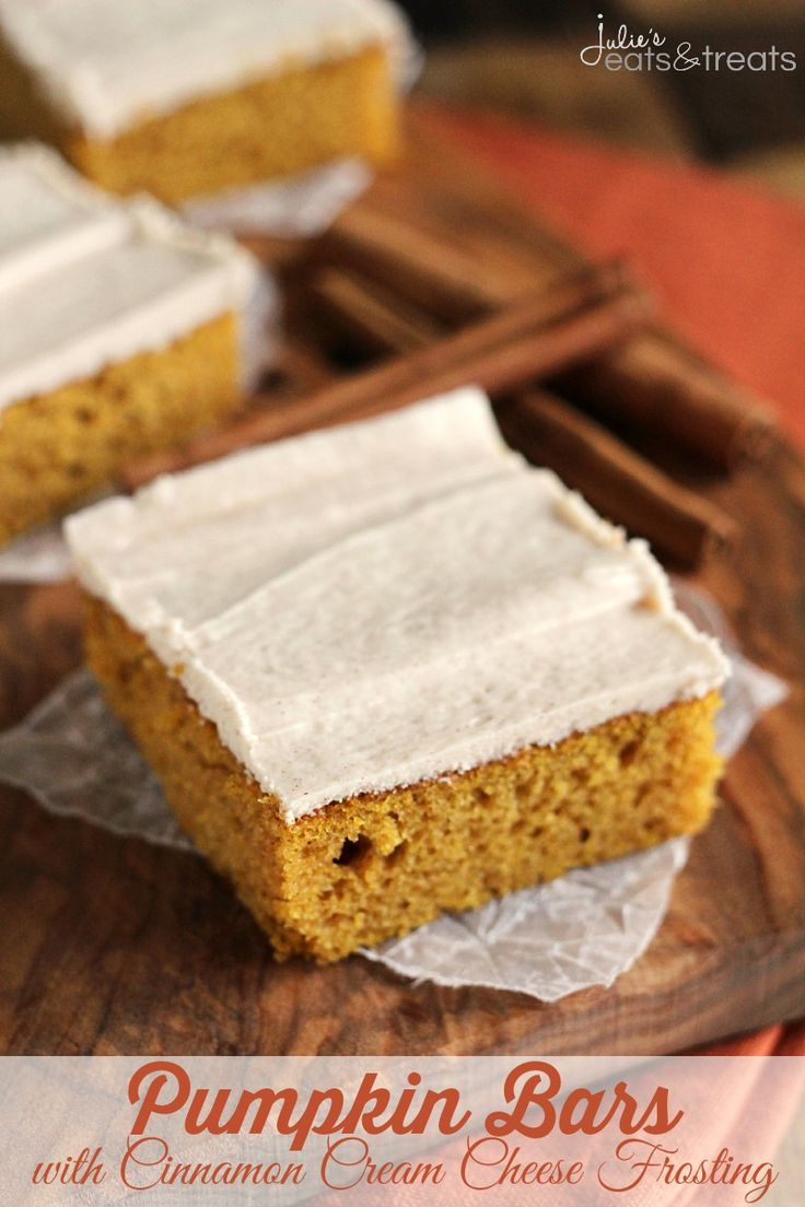 Perfectly Soft, Easy and Delicious Pumpkin Bars Topped with a Cream Cheese Frosting Spiced with Cinnamon