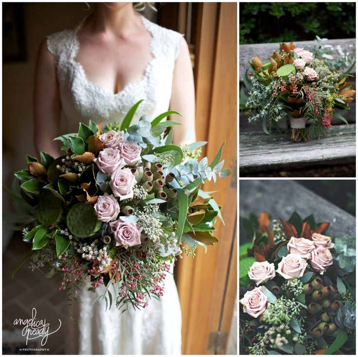 Cheap Wedding Flowers Sydney: Awesome Wedding Bouquet. Roses, Lotus Pod, Gum Leaves And