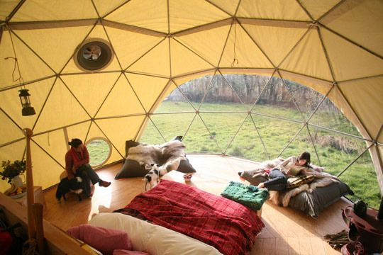 So lovely. Dare I even say it, I think it might be more lovely (aesthetically) than a yurt. Especially with that huge open window.