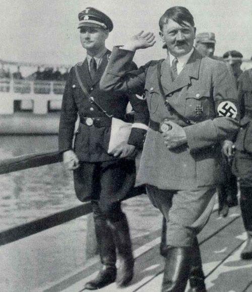 World War II - Adolf Hitler with Rudolf Hess.