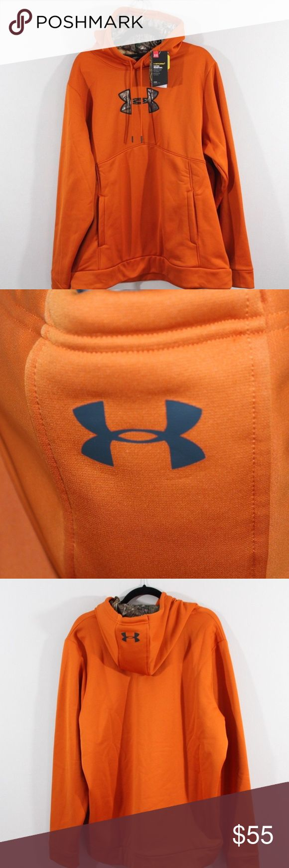 New Under Armour Real Tree Hunting Hoodie Sweater Under Armour Hunting Camouflage Hoodie Sweater  Excellent sweater  New  Orange  The size is XL and the measurements are 26 inches underarm to underarm and 30 inches  Check out my other items for sale in my store!  C14 Under Armour Sweaters