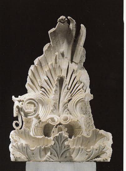 A floral akroterion was found outside the Amphipolis tomb dating back to the late 4th century B.C.Architectural sculpture known as akroteria often decorated the gables and four corners of the roof on ancient Greek temples and civic buildings. These purely decorative elements originally took the form of large, painted terracotta ornaments and, later, marble ornaments and statues carved in relief or in the round.