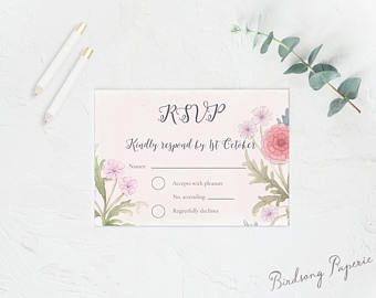 Hand painted Tenderly response card avaiable as a printable design on Etsy Visit Birdsong Paperie's Shop #responsecard #wedding #stationery #rsvpcard #rsvp #weddinginspiration #bride #illlustration #papergoods #romantic #classic