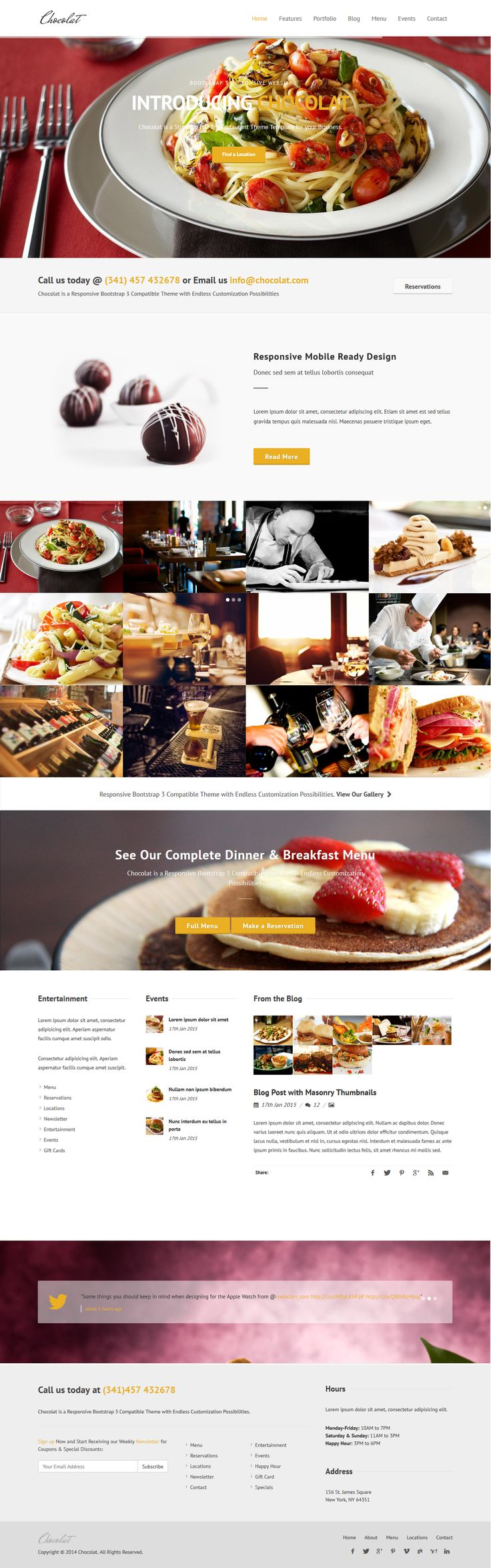 Chocolat is a Responsive Bootstrap HTML5 #Template ideal for the #hospitality industry including #restaurants, bars, nightclubs, resorts, #hotels and lodging. #website